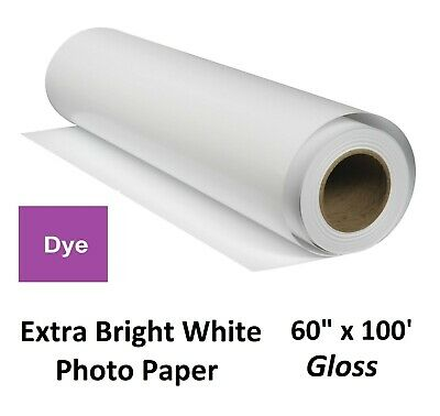 """Extra Gloss Inkjet Photo Paper for Dye-Based Pigment (HP Canon Epson) 60"""" x 100′"""