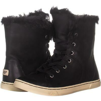 4416cb00d1f UGG AUSTRALIA BLACK CROFT SUEDE SHEEPSKIN LINED ANKLE BOOTS High Top ...