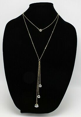 Beautiful New Gold Rhinestone Drop Pendant Necklace by Neiman Marcus #NM20
