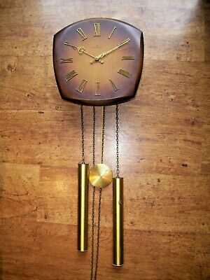 Vintage Mid 20th Century Junghans Teak and Brass Wall Clock (External Weights)