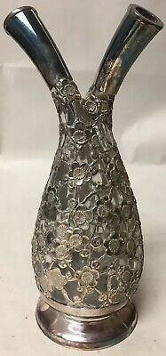 Finest Quality Unusual 950 Sterling Silver Overlay Glass Decanter Bottle France