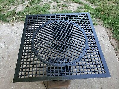 "Antique Large Cast Iron 31"" x31"" Victorian Cold Air Return Floor Grate Register"