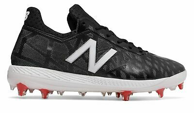 New Balance Low-Cut COMPv1 TPU Baseball Cleat Mens Shoes Black with White & Red