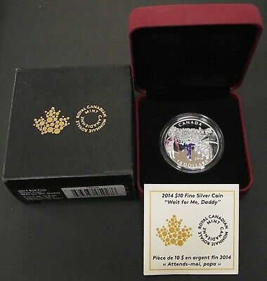 2014 Fine 1/2oz Silver Wait For Me Daddy Canada $10 Dollars RCM Proof Coin, B52
