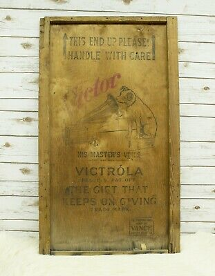 Vintage RCA Victor Victrola Wood Shipping Crate Panel Lid Nipper Dog Advertising