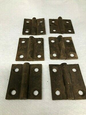 Vintage Set of 6 Cabinet Door Corner Style Rustic Used Hinges - Hardware