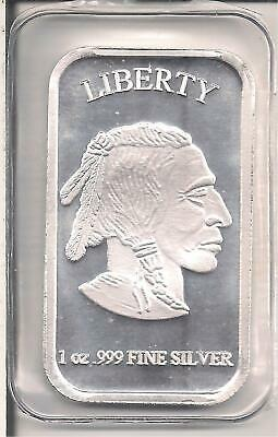 USA One Troy Ounce .9999 Pure Silver Bar, Indian Haed/Bison