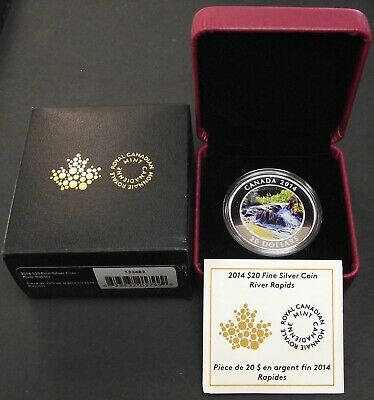 2014 Fine 1oz Silver River Rapids Canada $20 Dollars RCM Proof Coin, B71