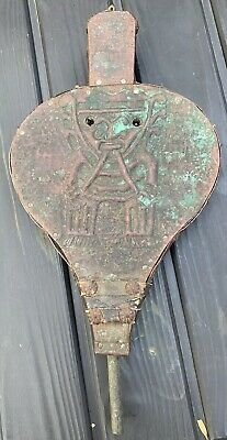 Antique Copper Wood Leather Aztec Mayan Fire Bellows Fireplace Accessory
