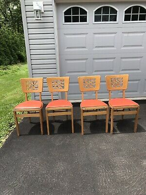 9 Vintage Stakmore Wooden Padded Folding Chairs Carved Leaf Back Good To Fair