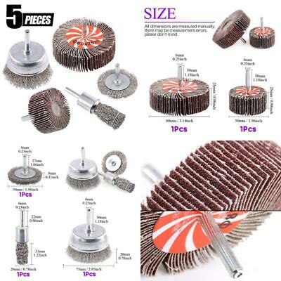 Swpeet 5Pcs Crimped Wire Wheel Brush  Wire Cup Brush Set With 1/4-Inch Shank, 5