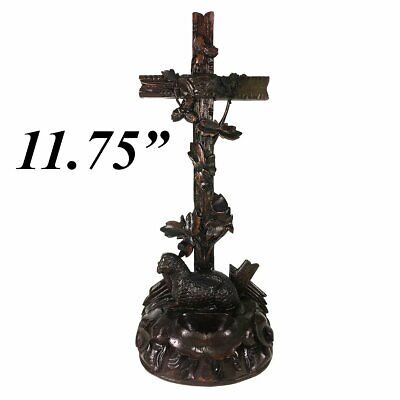 """Antique Hand Carved Black Forest 11.75"""" Tall Crucifix, Holy Font with Lamb"""