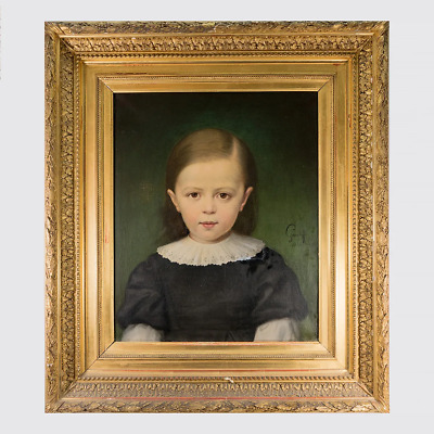 Antique French Oil Painting in Elaborate Frame, A Beautiful Portrait, Young Boy