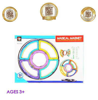 Clear Colors Magnetic Award Winning Tiles Deluxe Building Blocks Set 34 Piece