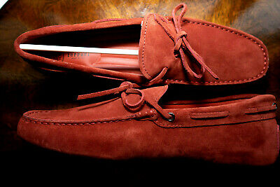 48787e2c78267 TOD's For Ferrari Gommino Suede Driving Loafers Shoe in RED Mens Size UK 9  US 10