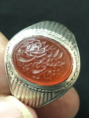 Islamic Eastern hand made Engraved Intaglio Agate Red  Stone Seal Arabic Ring R