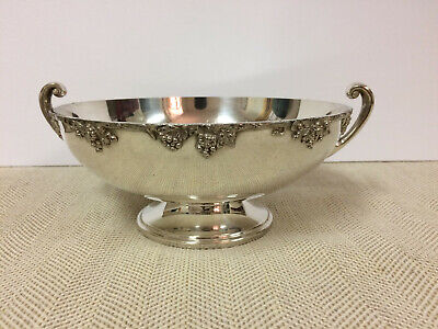 Academy Silver on Copper Vintage 6090 Footed Centerpiece Serving Bowl w/ Handles