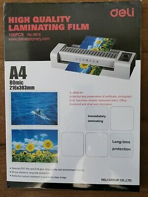 A4 Laminating Pouches 80 micron Gloss. High quality pack Deli Brand (100 pack)