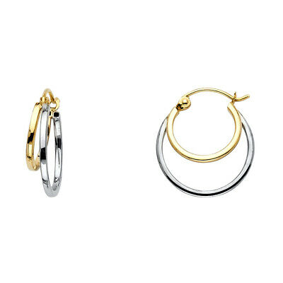 Ioka - 14K Gold 4mm Thickness Double Hoop Hinged Earrings