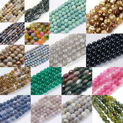 Faceted Round Oval Natural Agate Gemstone Spacer Bead Jewellery 6mm 8mm 10mm