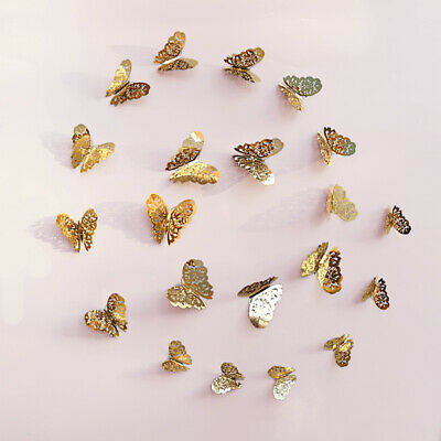 3D Gold Butterfly Hollow Metallic Sense 12pcs Wall Stickers Bedroom Decoration