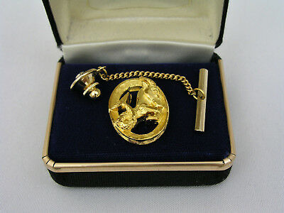 Swank Gold Plated Astrologial Zodiac Tie Tack - Capricorn - New Old Stock Estate