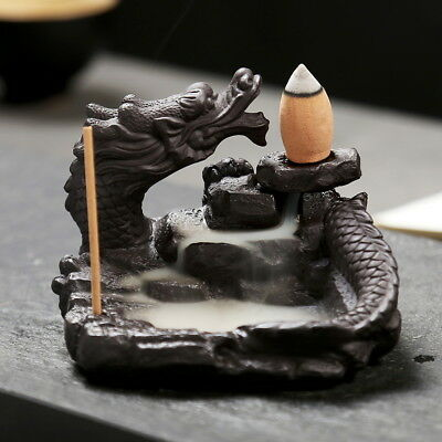 Retro Dragon Incense Burner Smoke Backflow Ceramic Glaze Censer Stick Cone Plate