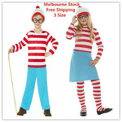 CL188 Mens Where/'s Wally Waldo Adult Wheres Cartoon Costume Book Week Outfit