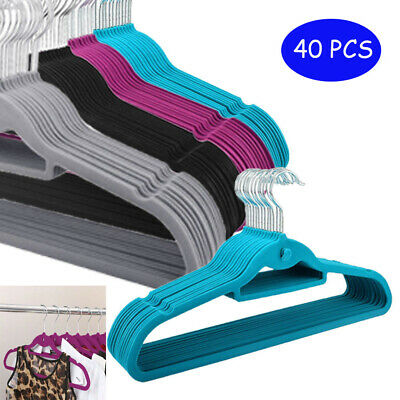 40Pcs Clothes Hangers Non Slip Velvet Flocked Curved Dresses Coat Hanging Home