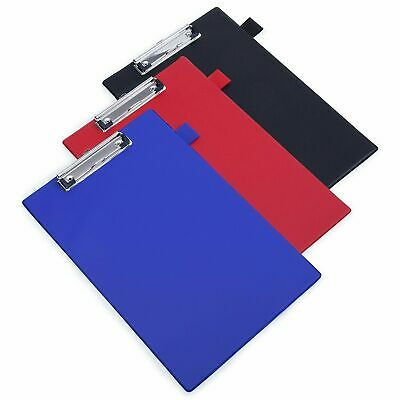 A4 Foolscap Clipboard PVC With Pen Holder Black Red Blue Clip Board Clipboards