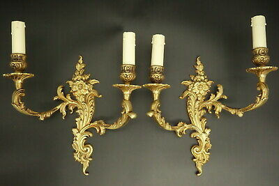 Large Pair Of Sconces Rococo Style - Petitot France - Bronze - French Antique