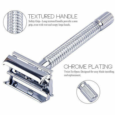 Traditional Classics Double Edge Chrome Shaving Safety Razor + Blades TOP