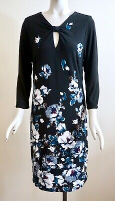 NWT White House Black Market ¾-Sleeve Reversible Floral/Solid Knit Sheath Dress