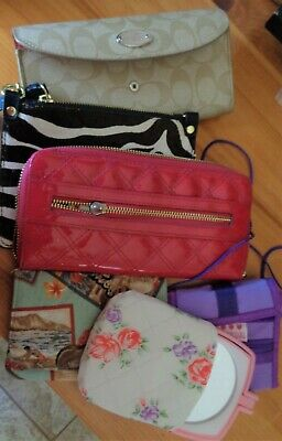 Lot of Vintage Ladies Wallets Coin Purses Mirrors Designer Leather Fun Wear