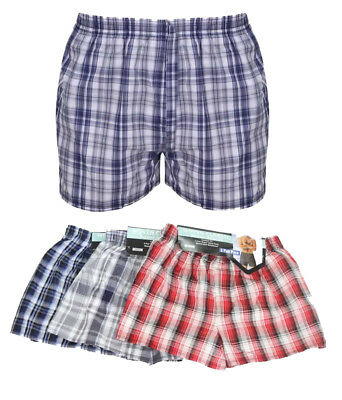 New Mens 3/6 Pack Value Woven Check Print Poly Cotton Underwear Boxer Shorts SP1