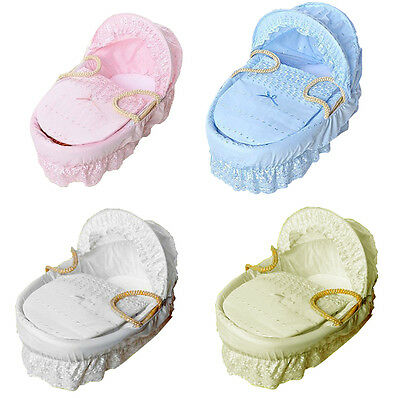 New Baby Broderie Anglaise Replacement Moses Basket Dressing Covers Set UK Made