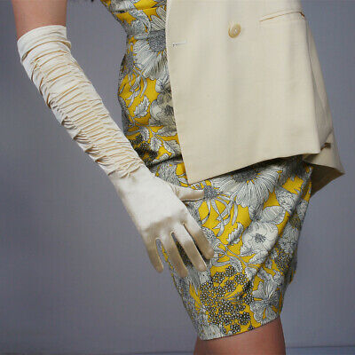 """RUCHED Stretchy Satin Silk Gloves 20"""" Long Elbow Golden Beige Ivory Gathered"""