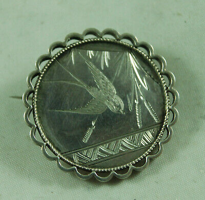 Victorian Aesthetic Movement Silver Brooch 2.9cm 4.3g A714017