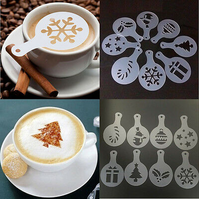 8pcs Cappuccino Coffee Barista Stencils Latte Art DIY Mould Mold Christmas
