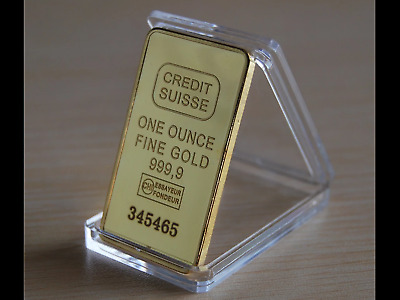 🎁 1 Oncia Credit Suisse 999,9 Gold Plated 24k lingotto oro placcato idea regalo