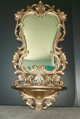 "35"" Vintage Gold Ornate Baroque Hollywood Rococo Style Carolina Mirror Co Shelf"