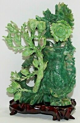 Vintage Jade Jadeite * Intricate Chinese Carved * Rose Buds Birds * Signed *