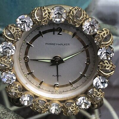 Phinney-Walker Vintage Rhinestone Boudoir Alarm Clock Made in Germany - Works!!