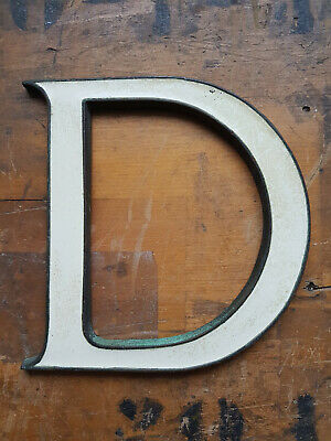 Vintage bronze & off white enamel shop sign letter D 6""