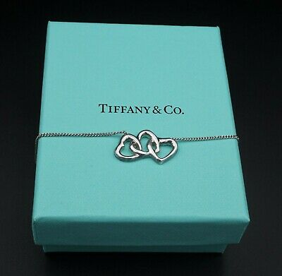"Sterling Silver Tiffany & Co. Triple Interlocking Heart Necklace 18"" Box NS1532"