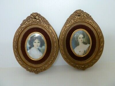Vintage Pair French GOLD GILT WOOD OVAL PICTURES Ladies Shabby Chic