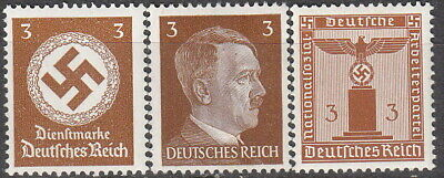 Stamp Selection Germany WWII 3rd Reich Adolf Hitler Cut From Sheets 3PF MNH