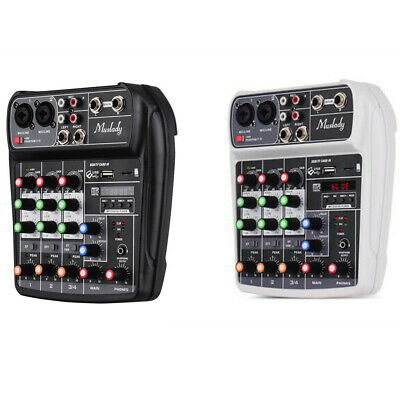 4 Channel USB Audio Mixer Mixing Console With BT Record 48V Phantom Power Y9G0