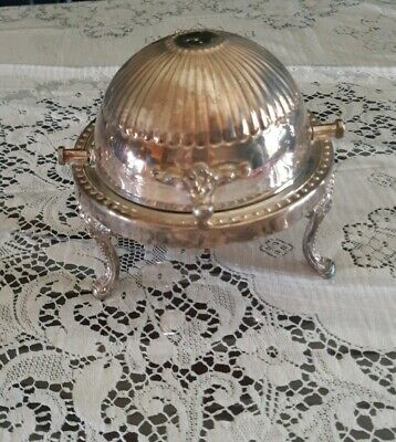 B.W Silver Plated Caviar/ Butter Dish Sliding Dome Lid