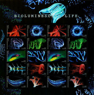 USPS Forever Postage Stamps 'Bioluminescent Life Stamps' full sheet of of 20